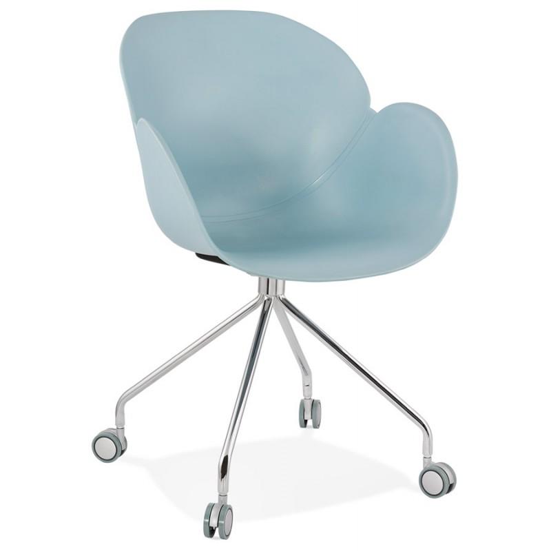 Chaise de bureau sur roulettes SORBIER en polypropylène  pieds métal chromé (bleu ciel) - image 43478