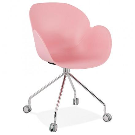 Sedia da tavolo SORBIER su ruote in piede in metallo cromato in polipropilene (rosa)