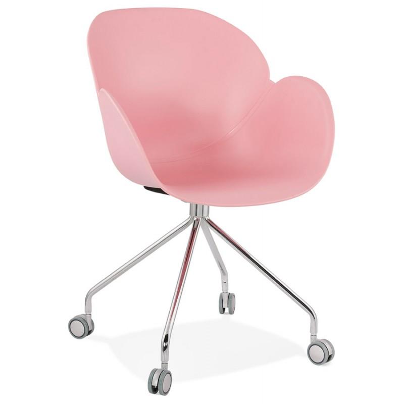 Chaise de bureau sur roulettes SORBIER en polypropylène  pieds métal chromé (rose) - image 43485