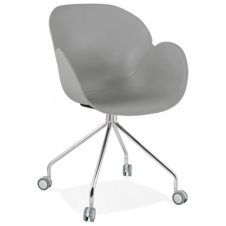 SORBIER desk chair on wheels in polypropylene chrome metal feet (grey)
