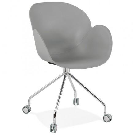Chaise de bureau sur roulettes SORBIER en polypropylène pieds métal chromé (gris)