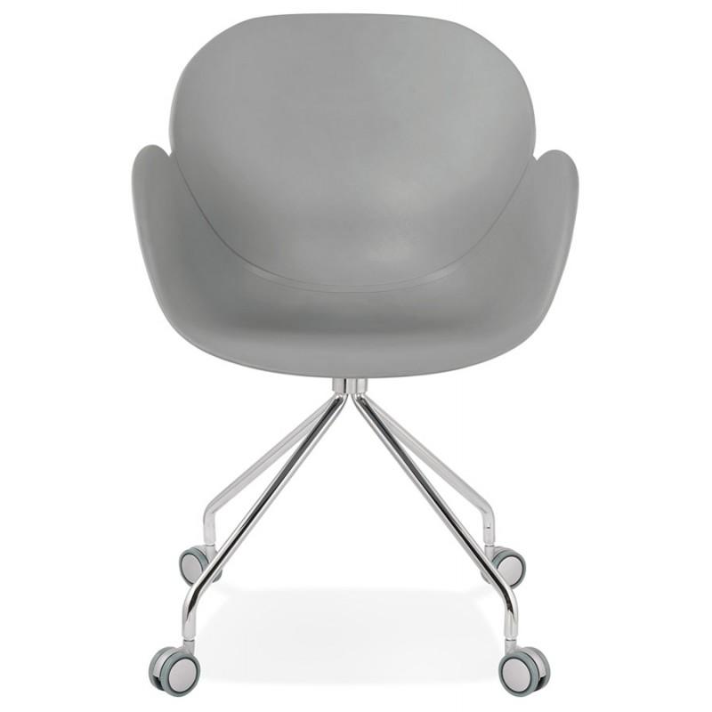 Chaise de bureau sur roulettes SORBIER en polypropylène pieds métal chromé (gris) - image 43493