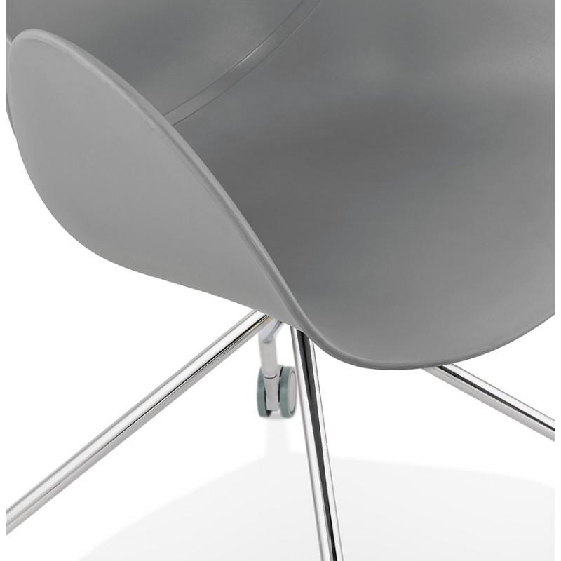 Chaise de bureau sur roulettes SORBIER en polypropylène pieds métal chromé (gris) - image 43494