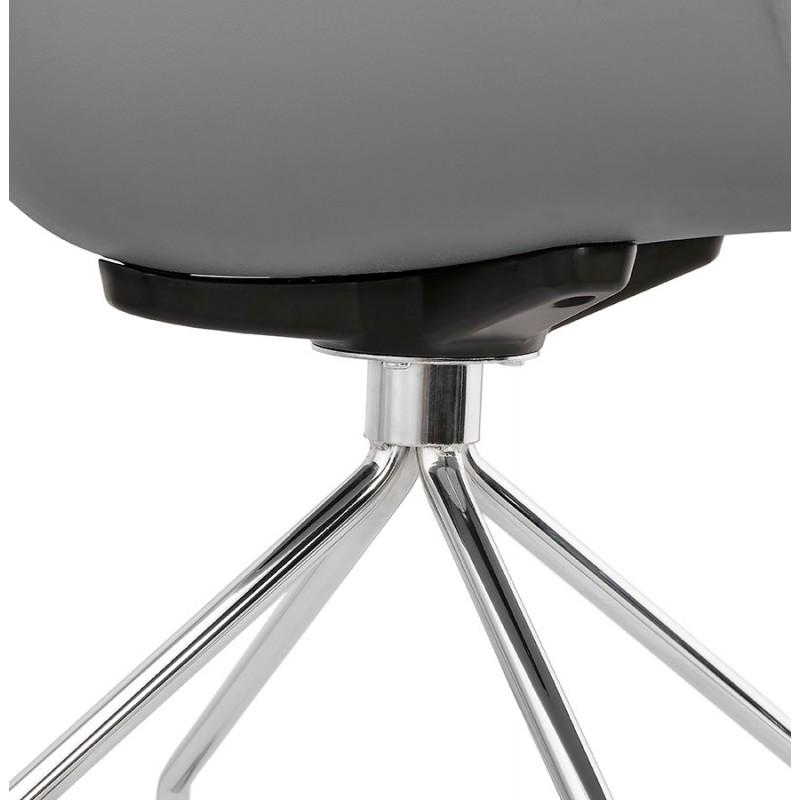 Chaise de bureau sur roulettes SORBIER en polypropylène pieds métal chromé (gris) - image 43497