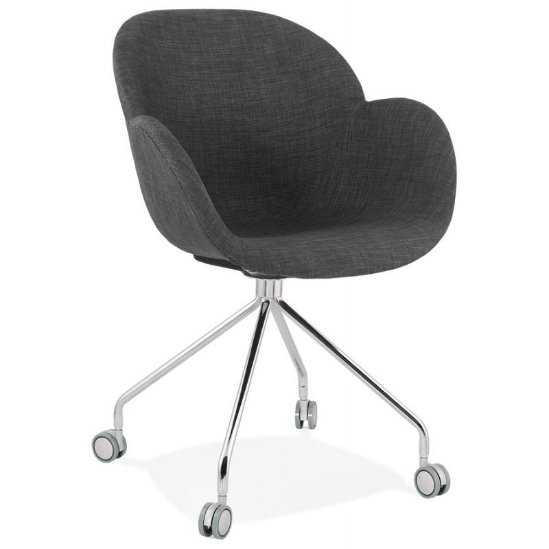 Sedia da ufficio su ruote in tessuto CAPUCINE (grigio antracite)