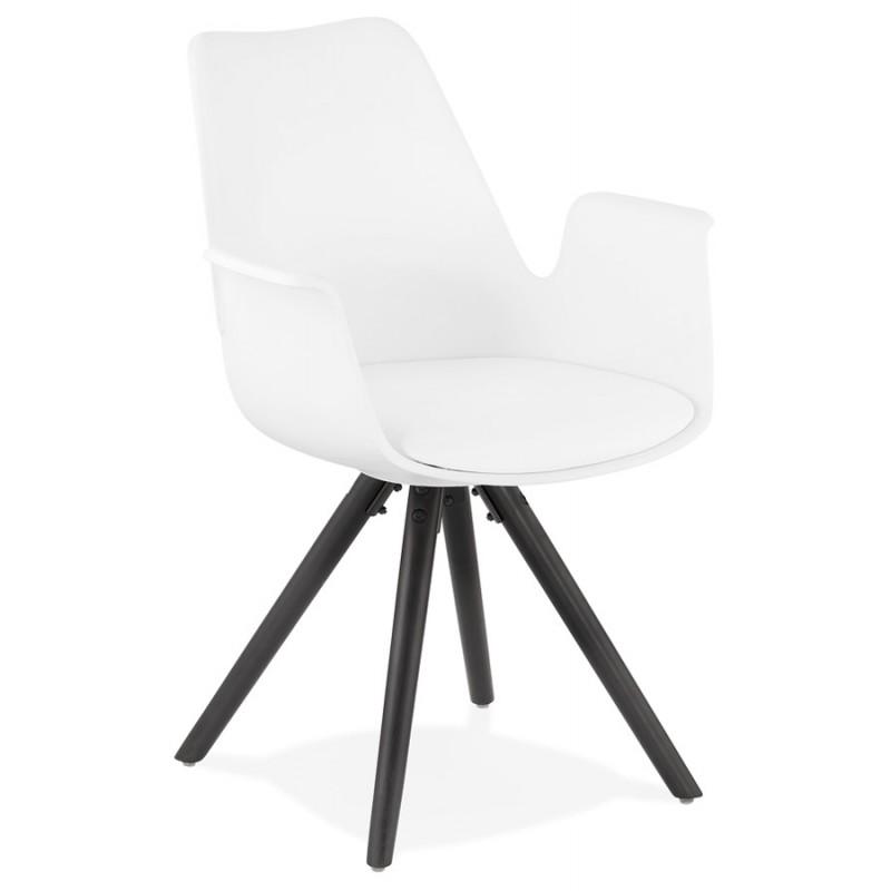 Chaise design scandinave avec accoudoirs ARUM pieds bois couleur noire (blanc) - image 43515