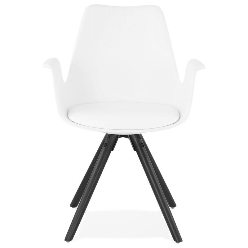 Chaise design scandinave avec accoudoirs ARUM pieds bois couleur noire (blanc) - image 43516