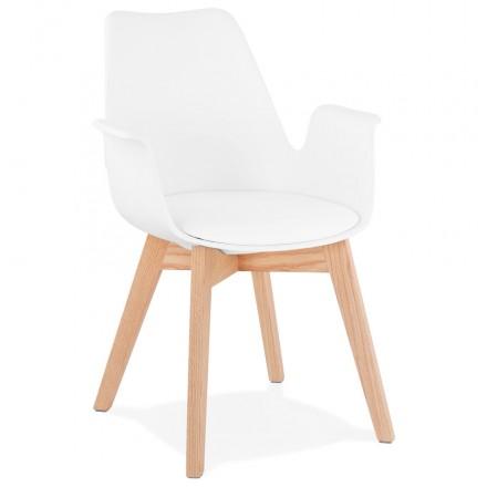 Chaise design scandinave avec accoudoirs KALLY pieds bois couleur naturelle (blanc)