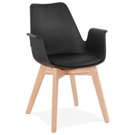 Chaise design scandinave avec accoudoirs KALLY pieds bois couleur naturelle (noir)