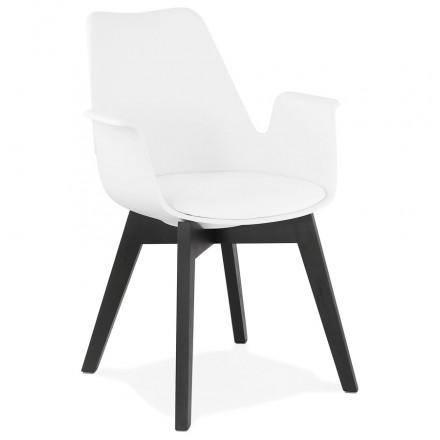 Chaise design scandinave avec accoudoirs KALLY pieds bois couleur noire (blanc)