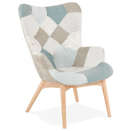 Fauteuil patchwork design scandinave LOTUS (bleu, gris, beige)
