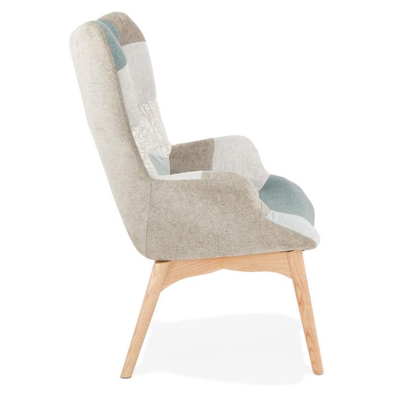 Fauteuil patchwork design scandinave LOTUS (bleu, gris, beige) - image 43575
