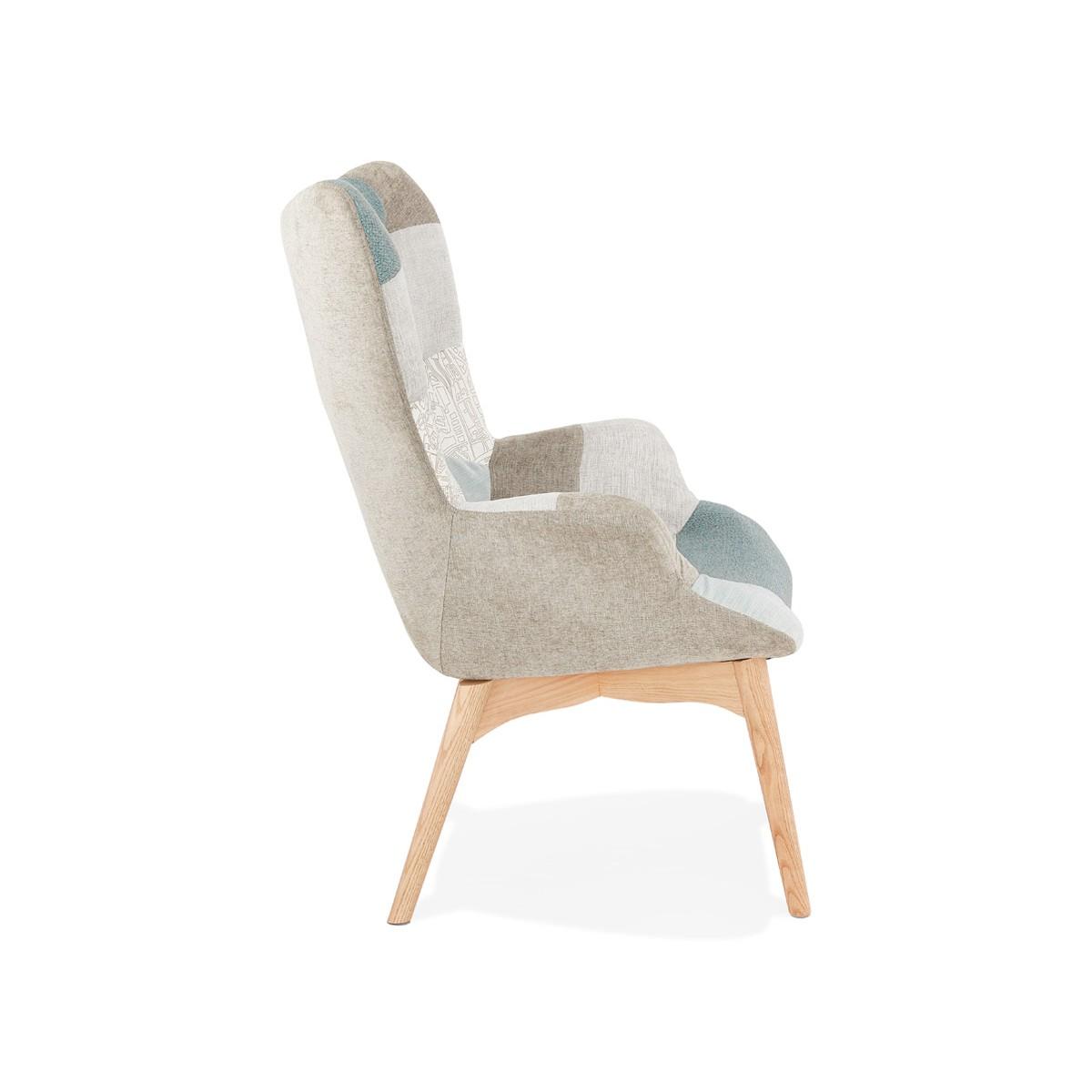 Sedia Patchwork Di Design Scandinavo Lotus Blu Grigio Beige