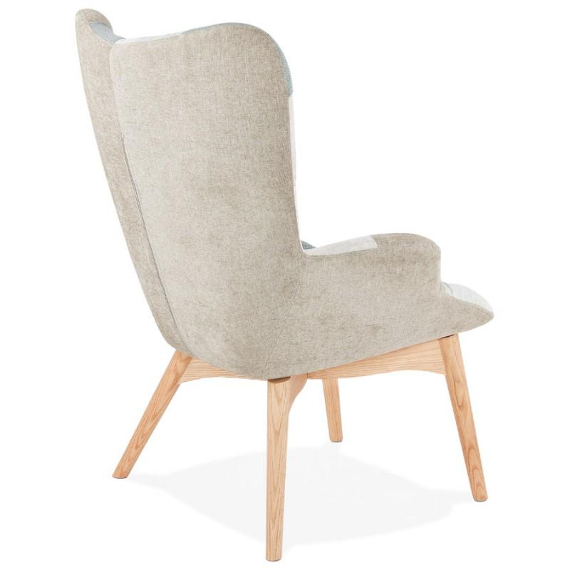 LOTUS skandinavisches Design Patchwork Stuhl (blau, grau, beige) - image 43576
