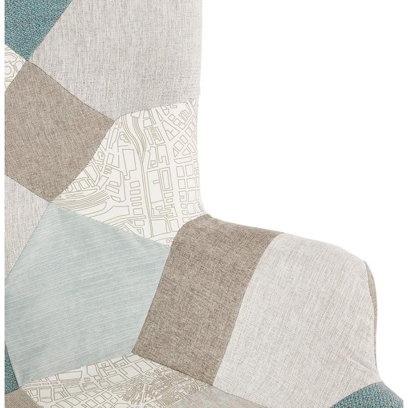 Fauteuil patchwork design scandinave LOTUS (bleu, gris, beige) - image 43579