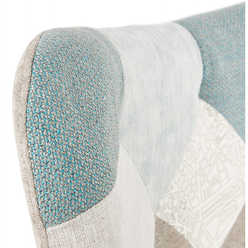 Fauteuil patchwork design scandinave LOTUS (bleu, gris, beige) - image 43581