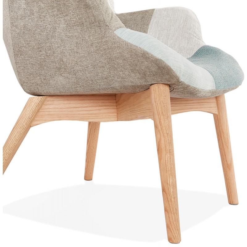 Fauteuil patchwork design scandinave LOTUS (bleu, gris, beige) - image 43583