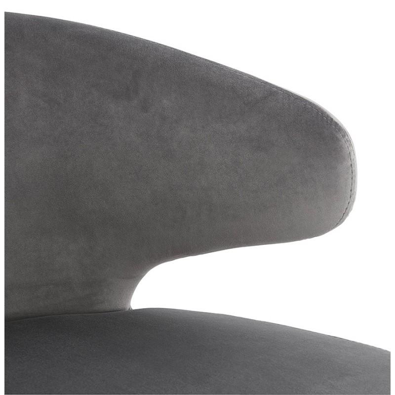 Fauteuil design YASUO en velours pieds bois couleur noire (gris) - image 43603