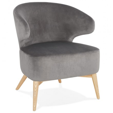 YASUO design chair in natural-coloured wooden footvelvet (grey)