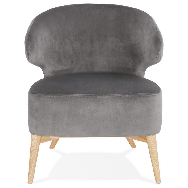 Fauteuil design YASUO en velours pieds bois couleur naturelle (gris) - image 43609