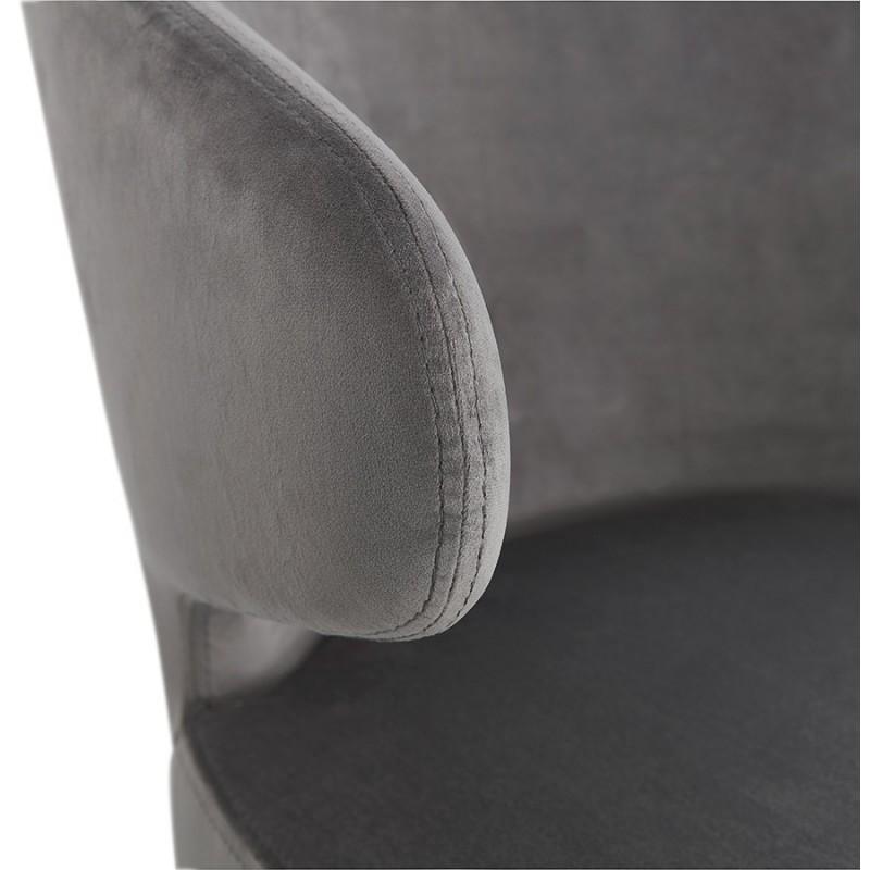 Fauteuil design YASUO en velours pieds bois couleur naturelle (gris) - image 43612