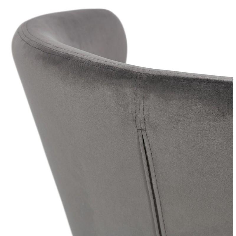 Fauteuil design YASUO en velours pieds bois couleur naturelle (gris) - image 43613