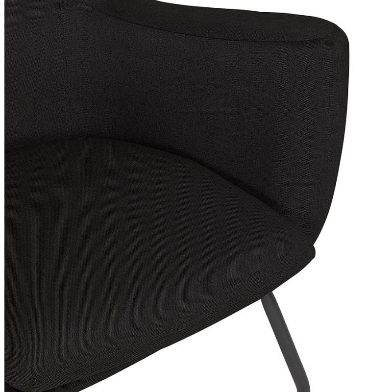 Fauteuil à oreilles contemporain LICHIS en tissu (noir) - image 43621