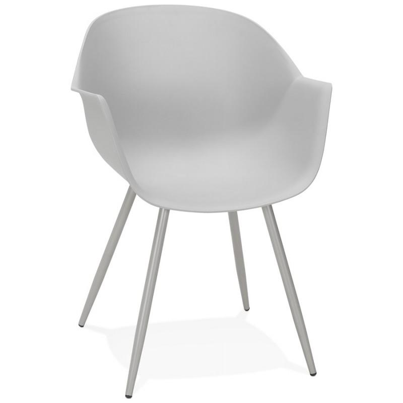 Chaise design scandinave avec accoudoirs COLZA en polypropylène (gris) - image 43698