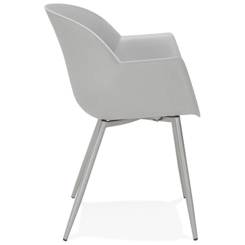 Chaise design scandinave avec accoudoirs COLZA en polypropylène (gris) - image 43700