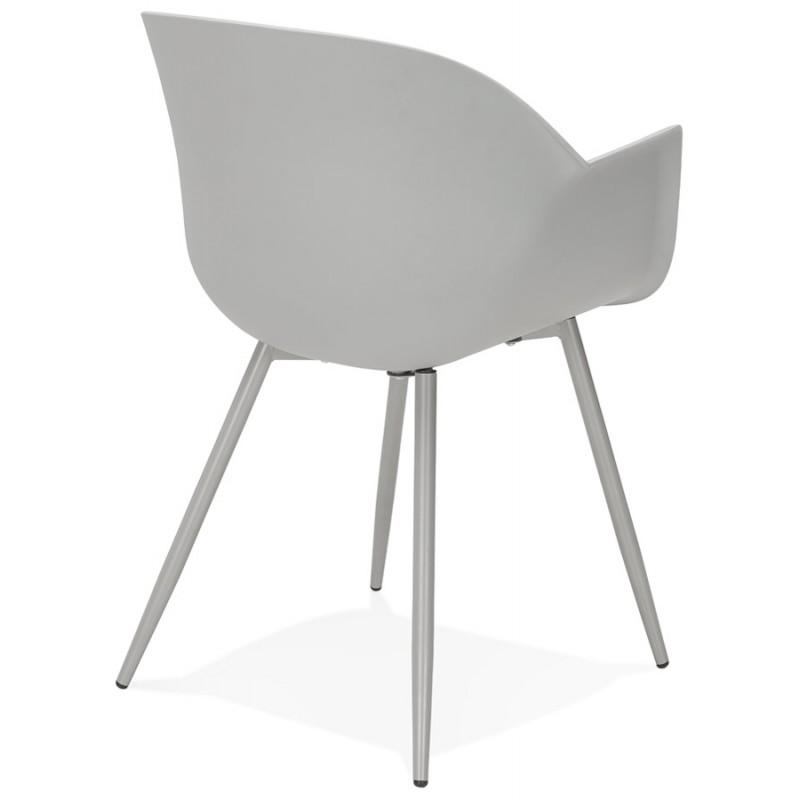 Chaise design scandinave avec accoudoirs COLZA en polypropylène (gris) - image 43701