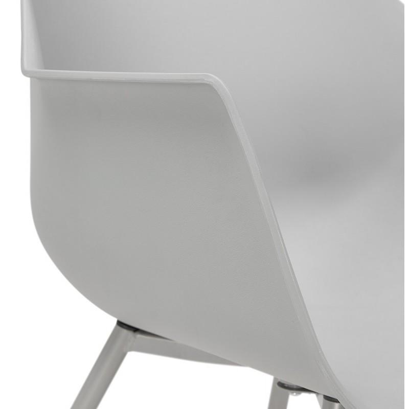 Chaise design scandinave avec accoudoirs COLZA en polypropylène (gris) - image 43705