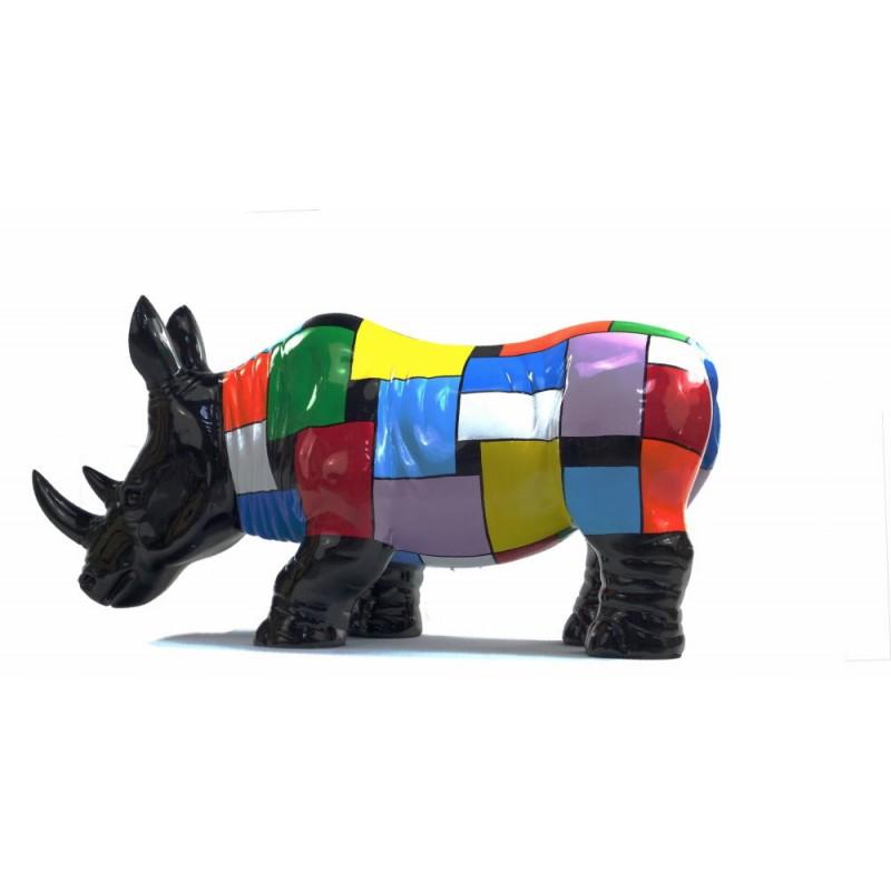 Statua disegno scultura decorativa RHINOCEROS in resina H34 cm (Multicolor) - image 43727
