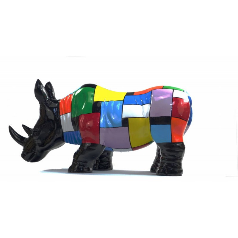 Statue decorative sculpture design RHINOCEROS in resin H34 cm (Multicolored) - image 43727