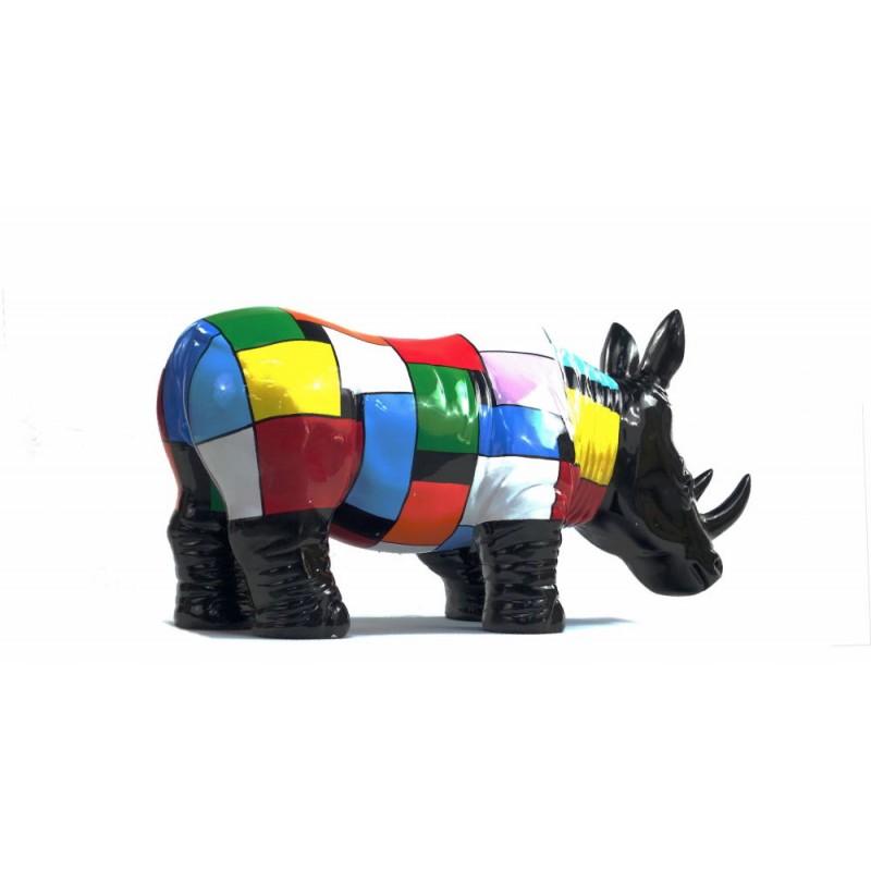 Statua disegno scultura decorativa RHINOCEROS in resina H34 cm (Multicolor) - image 43730