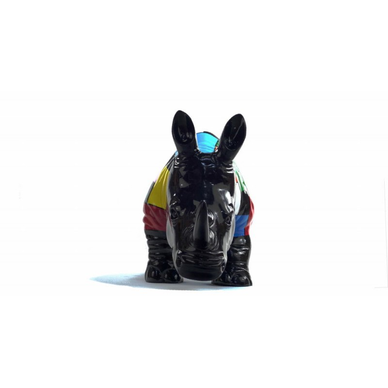 Statue decorative sculpture design RHINOCEROS in resin H34 cm (Multicolored) - image 43732