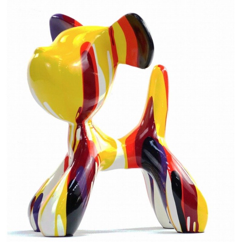 Set of 2 statues decorative sculptures design COUPLE OF CHIENS in resin H29 cm (Multicolored) - image 43742