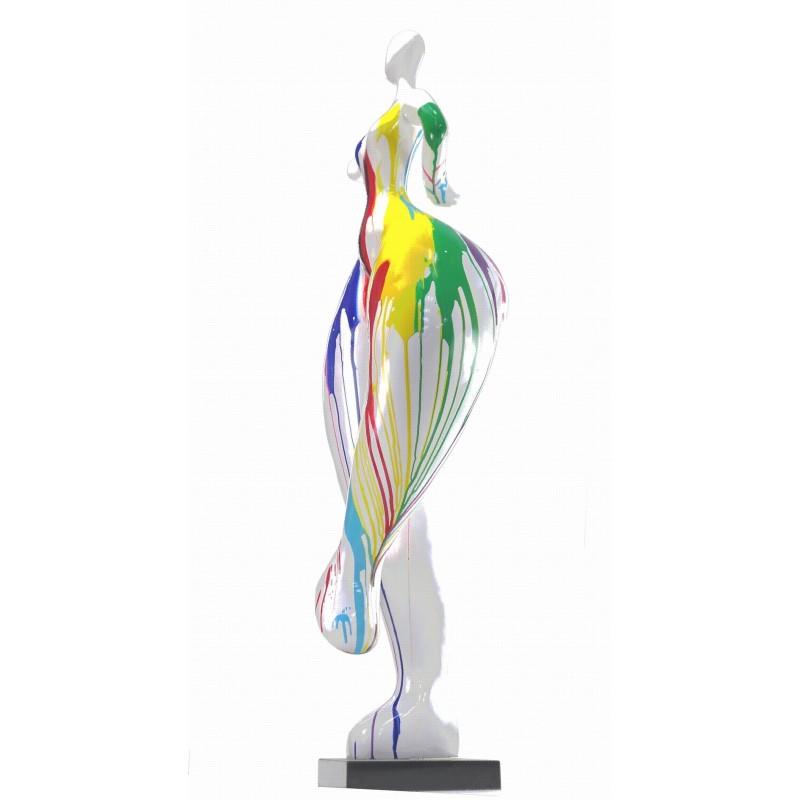 Statua scultura decorativa disegno DONNA ELEGANTE in resina H138 cm (multicolore) - image 43755