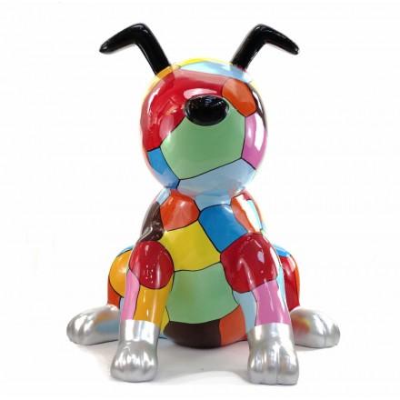 Statue decorative sculpture design CHIEN ASSIS POP ART in resin H100 cm (Multicolored)