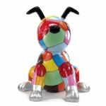 Statue sculpture décorative design CHIEN ASSIS POP ART en résine H100 cm (Multicolore)