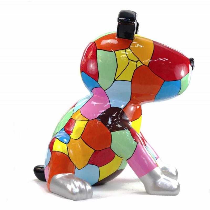 Diseño de escultura decorativa de la estatua CHIEN ASSIS POP ART en resina H100 cm (Multicolor) - image 43764