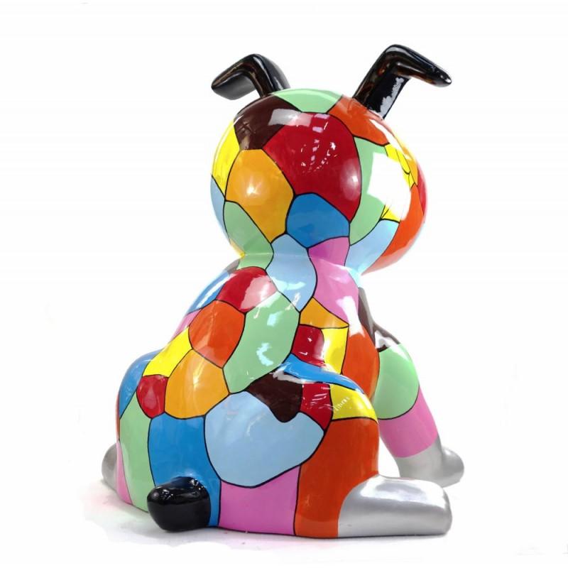 Diseño de escultura decorativa de la estatua CHIEN ASSIS POP ART en resina H100 cm (Multicolor) - image 43765