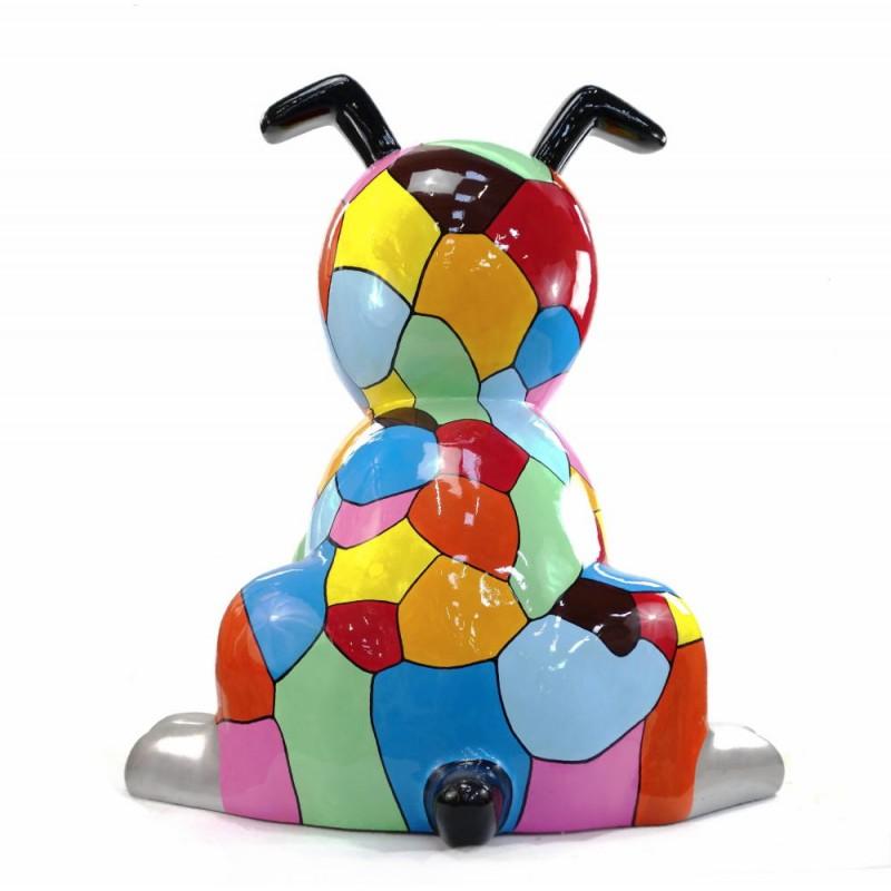 Diseño de escultura decorativa de la estatua CHIEN ASSIS POP ART en resina H100 cm (Multicolor) - image 43766