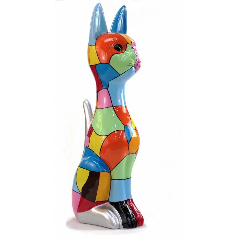 Statue decorative sculpture design CHAT DEBOUT POP ART in resin H100 cm (Multicolored) - image 43775