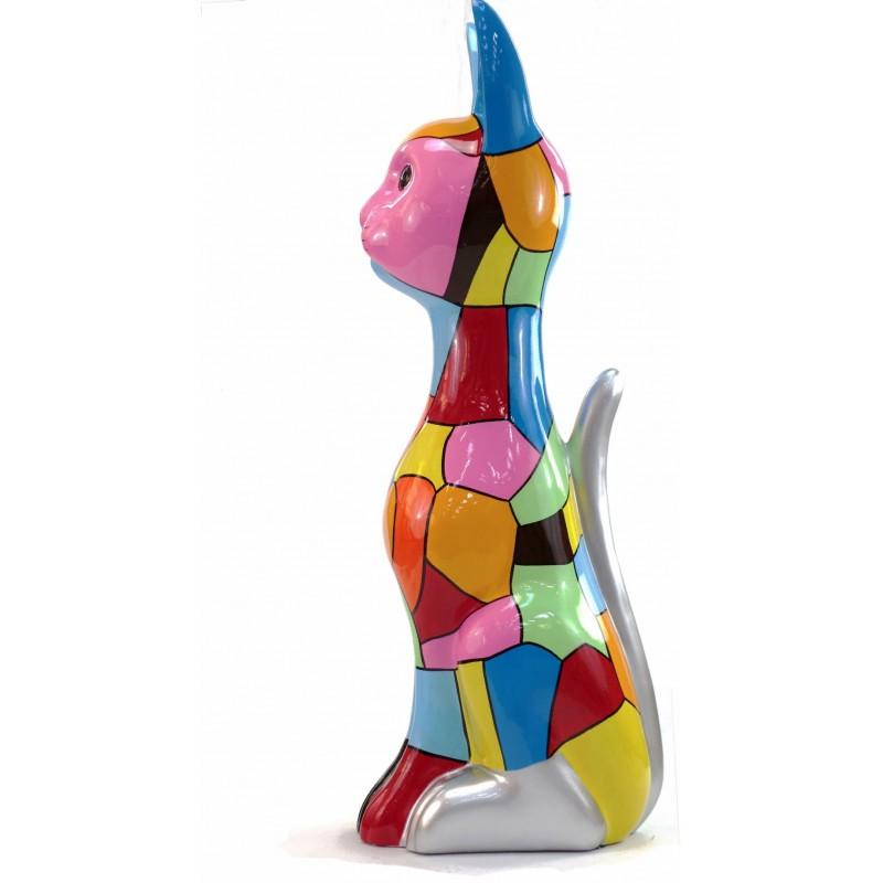 Statue decorative sculpture design CHAT DEBOUT POP ART in resin H100 cm (Multicolored) - image 43778