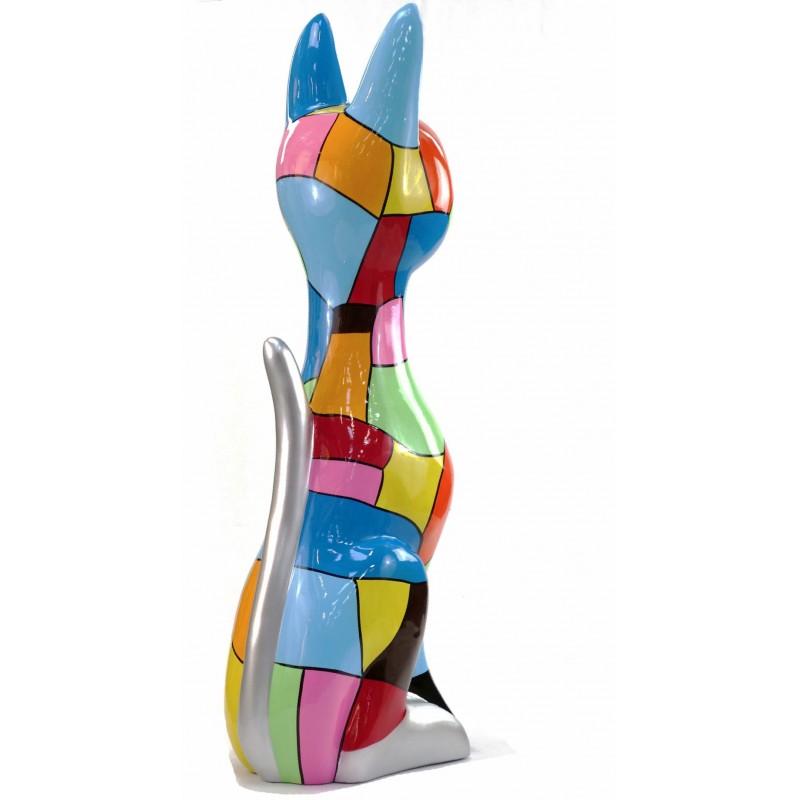 Statue decorative sculpture design CHAT DEBOUT POP ART in resin H100 cm (Multicolored) - image 43780