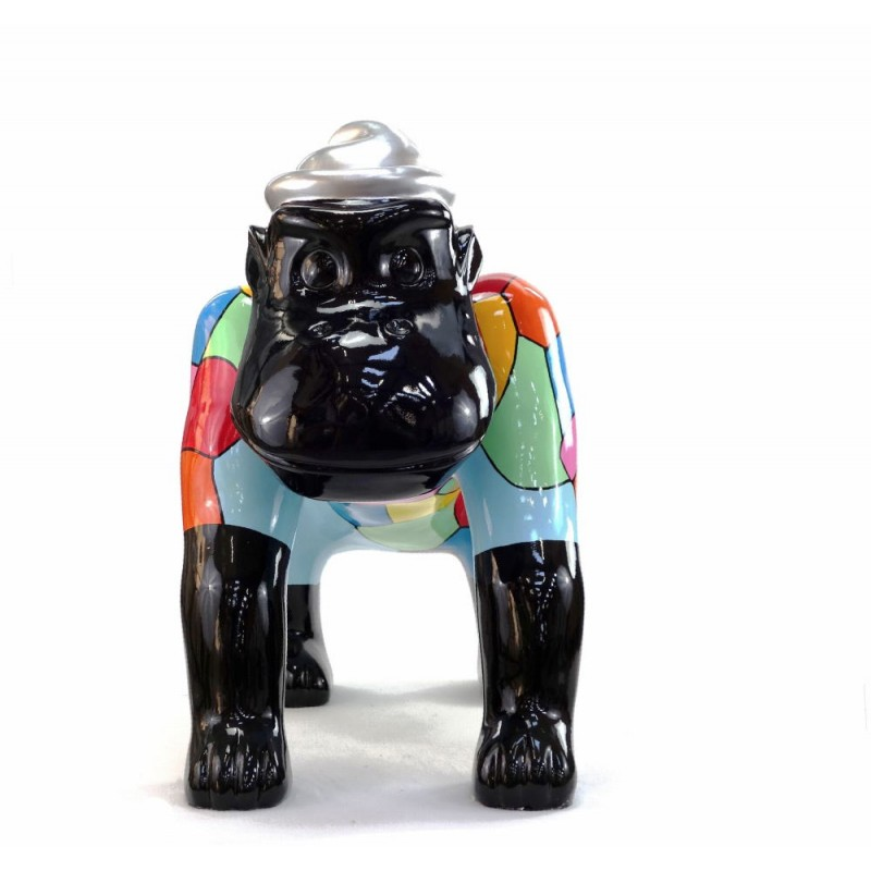Statue decorative sculpture design GORILLE 4 PATTES in resin H75 cm (Multicolored) - image 43781