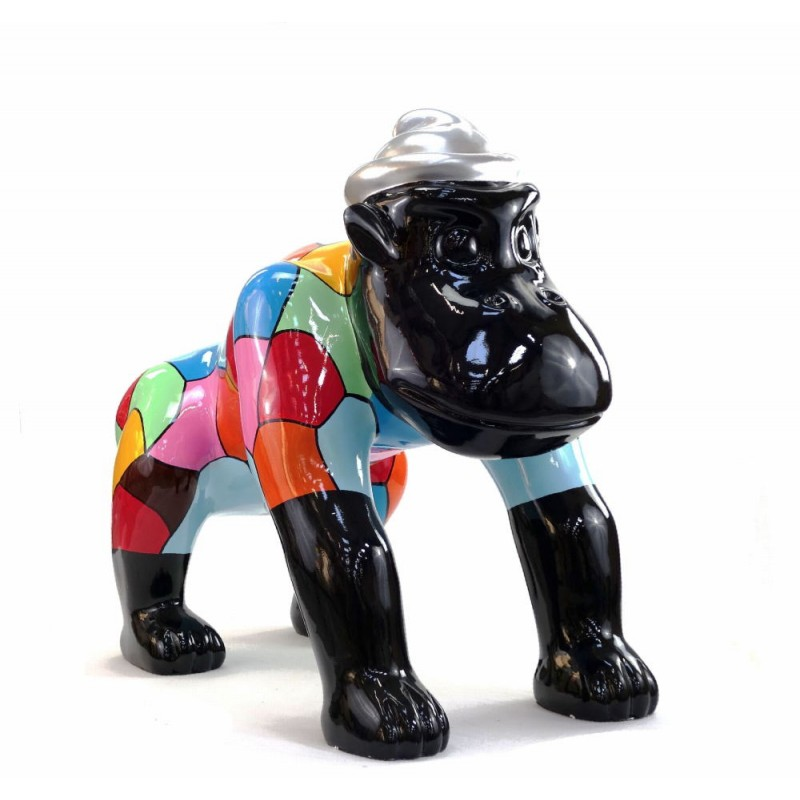 Escaloarte decorativo escultura diseño GORILLE 4 PATTES en resina H75 cm (Multicolor) - image 43782