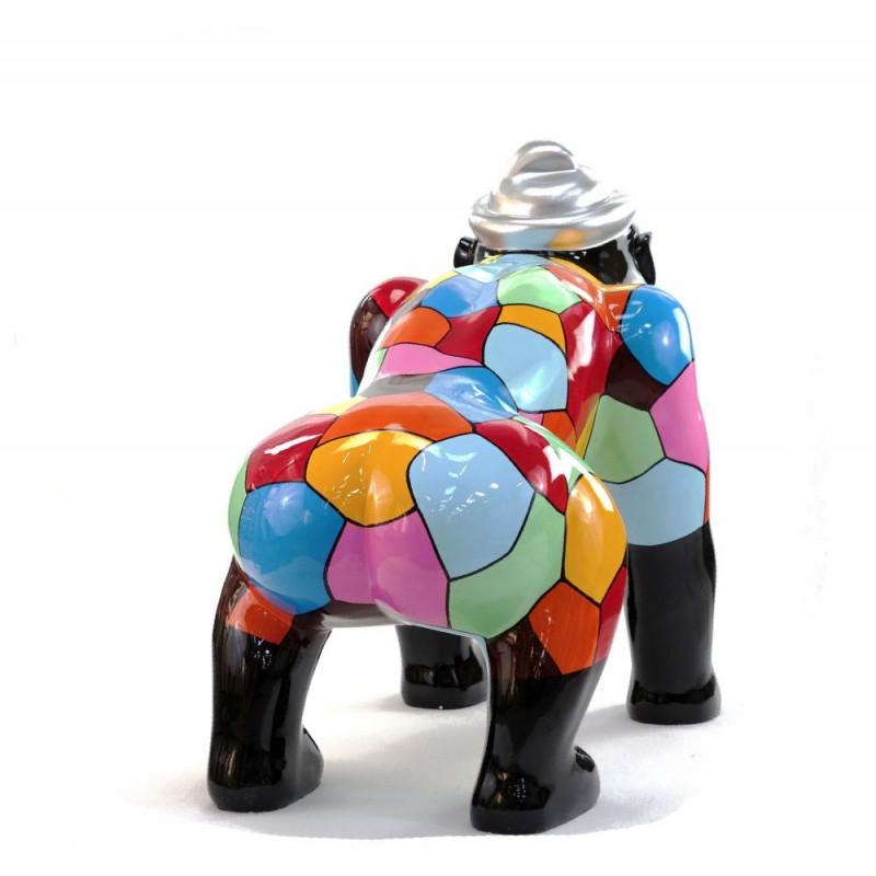 Escaloarte decorativo escultura diseño GORILLE 4 PATTES en resina H75 cm (Multicolor) - image 43785