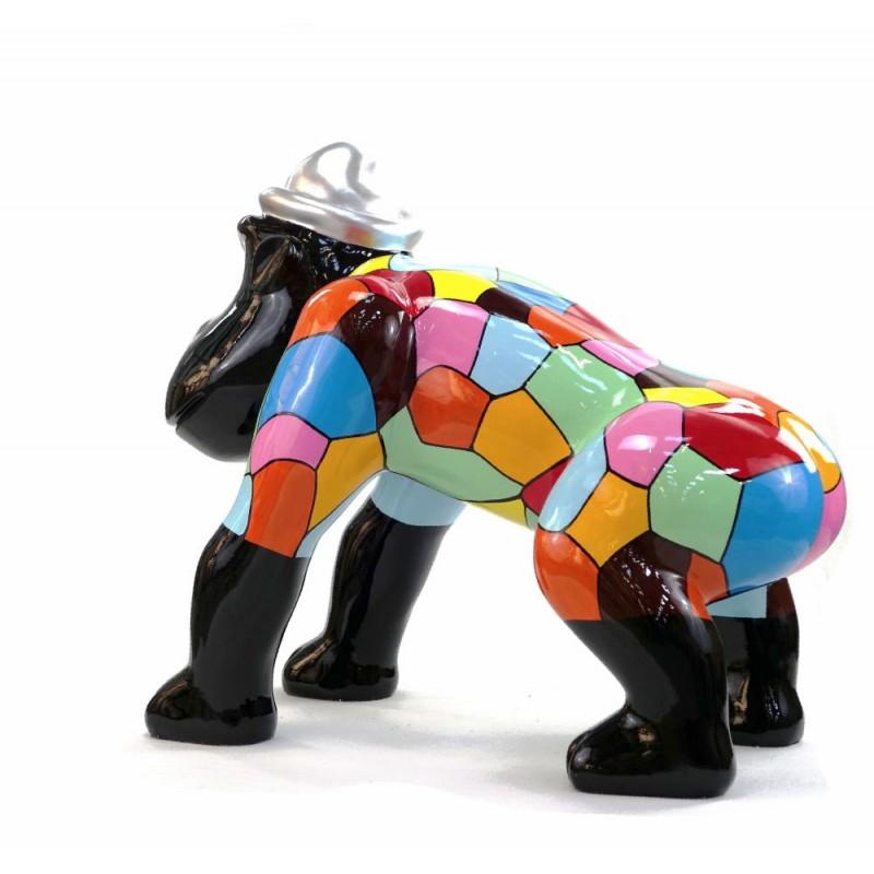 Escaloarte decorativo escultura diseño GORILLE 4 PATTES en resina H75 cm (Multicolor) - image 43786