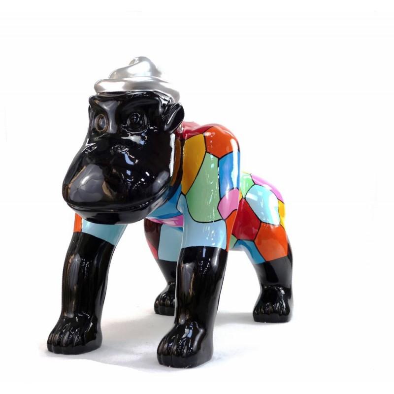 Escaloarte decorativo escultura diseño GORILLE 4 PATTES en resina H75 cm (Multicolor) - image 43787